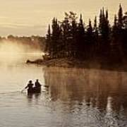 Canoeing On Winnipeg River, Pinawa Print by Dave Reede