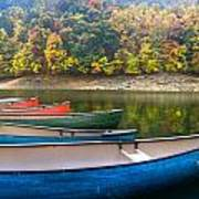 Canoes At Fontana Print by Debra and Dave Vanderlaan