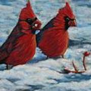 Cardinals In Winter Print by Tracey Hunnewell