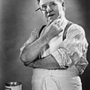 Carpenter Posing In Studio, (b&w) Print by George Marks