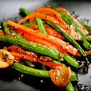 Carrot And Green Beans Stir Fry Print by Iris Filson