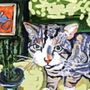 Cat And Mouse Friends Print by Patricia Lazar