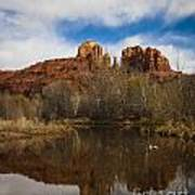 Cathedral Rock Reflections Portrait 2 Print by Darcy Michaelchuk