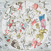 Celestial Planisphere Showing The Signs Of The Zodiac Print by Andreas Cellarius