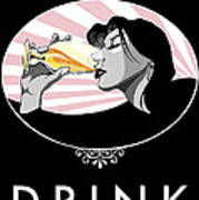 Champagne Drinking Woman Propaganda Style Print by Jay Reed