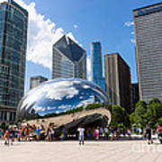 Chicago Bean Cloud Gate With People Print by Paul Velgos