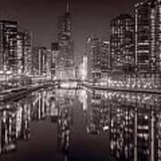 Chicago River East Bw Print by Steve Gadomski