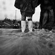 Children Walking In Heavy Rain Storm In The Street Print by Joe Fox