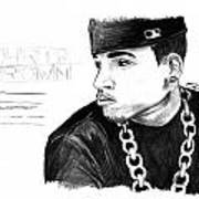Chris Brown Drawing Print by Pierre Louis