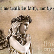 Christian Faith Girl Angel With Praying Hands Print by Kathy Fornal