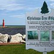Christmas Tree Ship Point At Algoma Harbor Print by Mark J Seefeldt