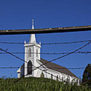 Church And Barbed Wire Print by Garry Gay