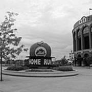 Citi Field In Black And White Print by Rob Hans