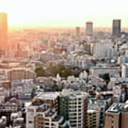 Cityscape Of Tokyo Print by Keiko Iwabuchi