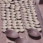 Clay Yogurt Cups Drying In The Sun Print by David Sherman