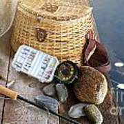 Close-up Of Fishing Equipment And Hat  Print by Sandra Cunningham