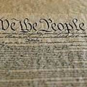 Close View Of The Us Constitution Print by Kenneth Garrett