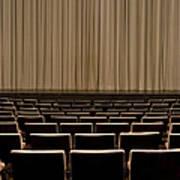 Closed Curtain In An Empty Theater Print by Adam Burn