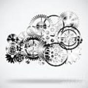 Cloud Made By Gears Wheels  Print by Setsiri Silapasuwanchai