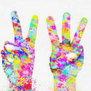 Colorful Painting Of Hands Number 0-5 Print by Setsiri Silapasuwanchai