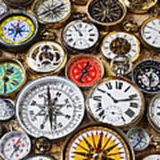 Compases And Pocket Watches  Print by Garry Gay