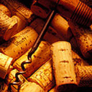 Corkscrew And Wine Corks Print by Garry Gay