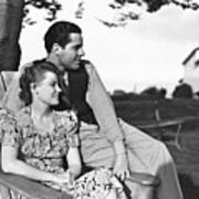Couple Relaxing On Deckchair In Garden, (b&w) Print by George Marks