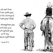 Cowboy And Rider With Bible Verse Print by Joyce Geleynse