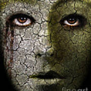 Creepy Cracked Face With Tears Print by Jill Battaglia
