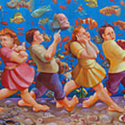 Crossing The Red Sea Print by Rosemarie Adcock