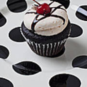 Cupcake With Cherry Print by Garry Gay