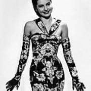 Cyd Charisse Modeling Flowered Evening Print by Everett