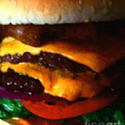 Double Cheeseburger With Bacon - Painterly Print by Wingsdomain Art and Photography