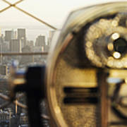 Downtown Manhattan Behind Coin Operated Binoculars Print by Jeremy Woodhouse