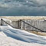 Drifting Snow Along The Beach Fences At Nauset Beach In Orleans  Print by Matt Suess