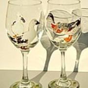 Ducks On Wineglasses Print by Pauline Ross