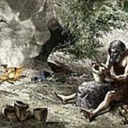Early Humans Making Pottery Print by Sheila Terry