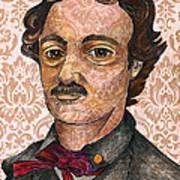 Edgar Allan Poe After The Thompson Daguerreotype Print by Nancy Mitchell
