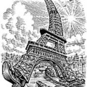 Eiffel Tower, Conceptual Artwork Print by Bill Sanderson