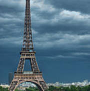 Eiffel Tower On A Stromy Weather Print by Mihaela Muntean