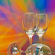 Empty Wine Glass Print by Anuwat Ratsamerat