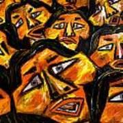 Faces Yellow Print by Karen Elzinga