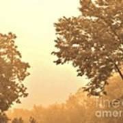 Fall Foggy Morning Print by Marsha Heiken
