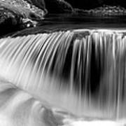Falling Water Black And White Print by Rich Franco