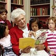 First Lady Barbara Bush Reads Print by Everett