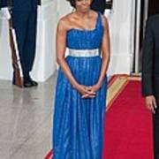 First Lady Michelle Obama Wearing Print by Everett