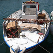 Fishing Boat With Octopus Drying Print by Jane Rix