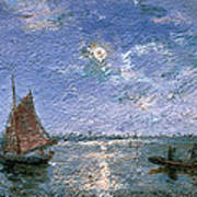 Fishing Boats By Moonlight Print by Alfred Wahlberg