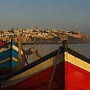 Fishing Boats In Front Of Kasbah Des Print by Axiom Photographic