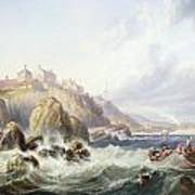 Fishing Boats Off Scotland Print by John Wilson Carmichael